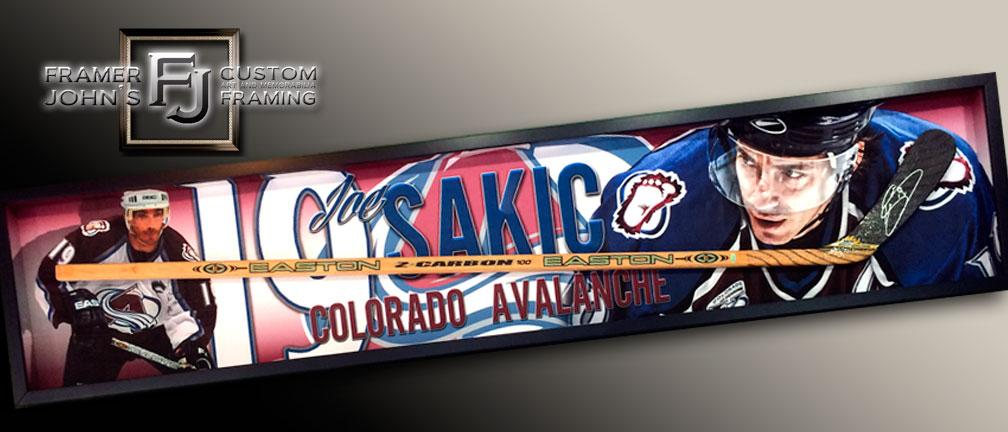 JOE SAKIC HOCKEY STICK WITH FULL-COLOR BACKGROUND